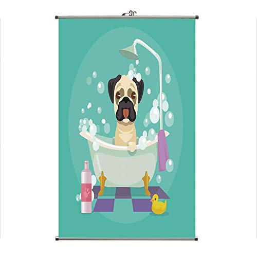 - iPrint Wall Hanging Picture Wall Scroll Poster Fabric Painting,Grooming Salon Service Shampoo Rubber Duck Pets,3D Print Design Personality Customization Make Your Room unique23.6 X43.3