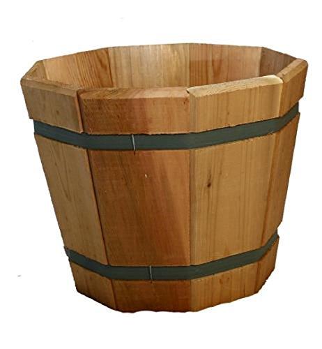 Cedar Wood Tub Planter - Made in USA - Choose Diameter (15
