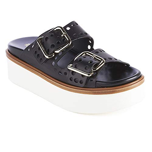 Tod's Sandal Women's Black Shoes Perforated Leather 0xvxz