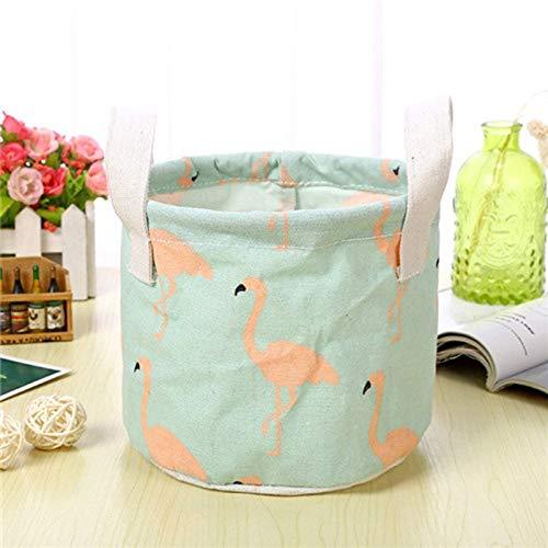 Storage Basket - Cartoon Round Linen Cosmetic Storage Basket Desktop Box Organizer Makeup Container Case - Grass Elephant Industrial Insert Rectangular Sink Casters Blue Stars Bath Door Tall S
