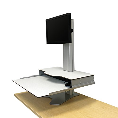 """Standing Desk Converter - Height Adjustable Sit Stand Desk Riser Single Monitor Support - Hover Helium, 24"""" x 28"""", White - RightAngle HHBSMS2428SW"""