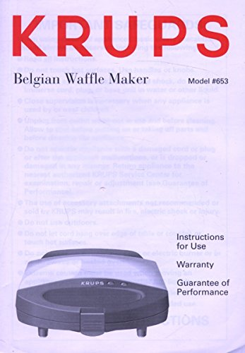 Krups Belgian Waffle Maker Model #653 Instruction Guide (booklet only) (Krups 653 compare prices)