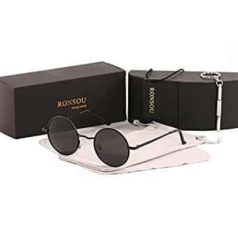 Ronsou Lennon Style Vintage Round Polarized Sunglasses Eyewear with Mirrored or Plain Lens Black frame/grey lens