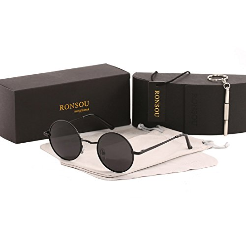 Plain Lens (Ronsou Lennon Style Vintage Round Polarized Sunglasses Eyewear with Mirrored or Plain Lens Black frame/grey lens)