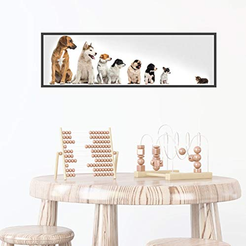 sansiwu Q Pet Shop Stickers, Dog Wall Stickers, Children's Bedroom, Bedside Wall, Self-Adhesive Decoration, Cute Dog Story ()
