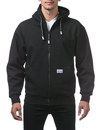 Pro Club Men's Heavyweight Full Zip Fleece Hoodie, Small, Black ()