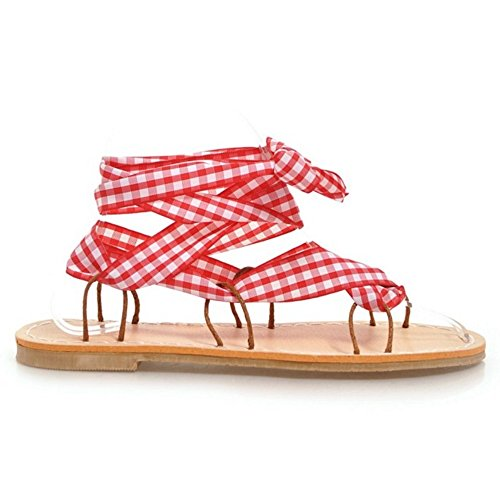 Tacco Red Sandali Piatto RAZAMAZA Donna Scarpe FHfqwPEnv