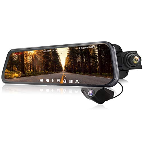 Rearview Mirror Dash Cam Dual Sony Starvis 1080P Front & Backup Camera 9.66