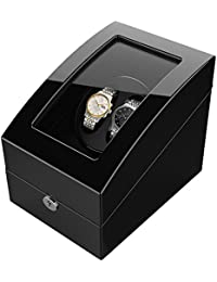 Watch Winder for 5 Watch, Wooden Shell, Piano Paint, Powered by Japanese Motor, Fit for All Size of Automatic Watches, Suitable for Bedroom (Black)