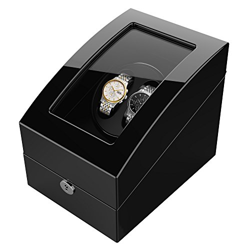 TRIPLE TREE Watch Winder for 5 Watch, Wooden Shell, Piano Paint, Powered by Japanese Motor, Fit for All Size of Automatic Watches, Suitable for Bedroom (Black)
