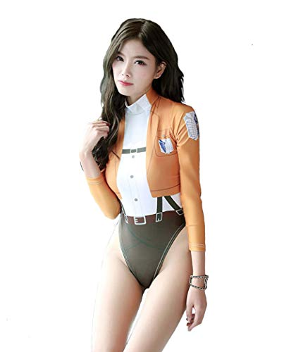 Rulercosplay Sexy Lingerie Anime Printing Bodysuit Miku Pichachu Titan One-Piece Swimming Cosplay Costume (Standard Size (S,M,L), Brown (Titan))