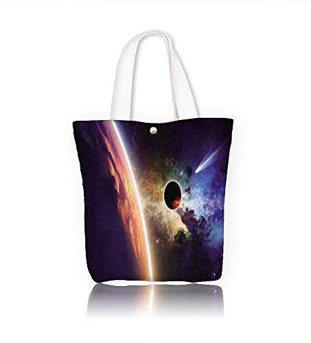 Canvas Tote Bag Galaxy E h Comet Approaches Planet Scientific FactsRealities In Solar System World Scene Hanbag Women Shoulder Bag Fashion Tote Ba W21.7xH14xD7 INCH (Comet Red Cleaner)