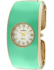 Peugeot Womens 14K Gold Plated Turquoise Enamel Cuff Bangle Dress Jewelry Watch 7085TQ