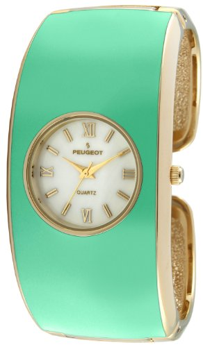 Peugeot Women's 14K Gold Plated Turquoise Enamel Cuff Bangle Dress Jewelry Watch 7085TQ