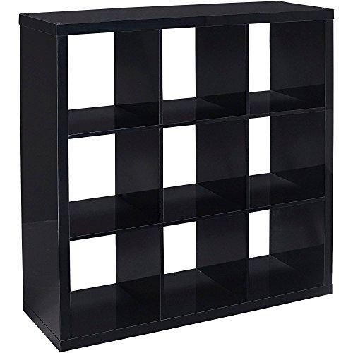 Better Homes and Gardens 9-cube Organizer Storage Bookcase Bookshelf Cabinet Divider (Black Lacquer) - Medicine Cabinet Shelf Divider
