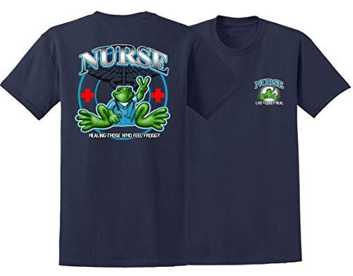 Peace Frogs Nurse Frog Adult Unisex Short Sleeve T-Shirt (Navy, Medium)