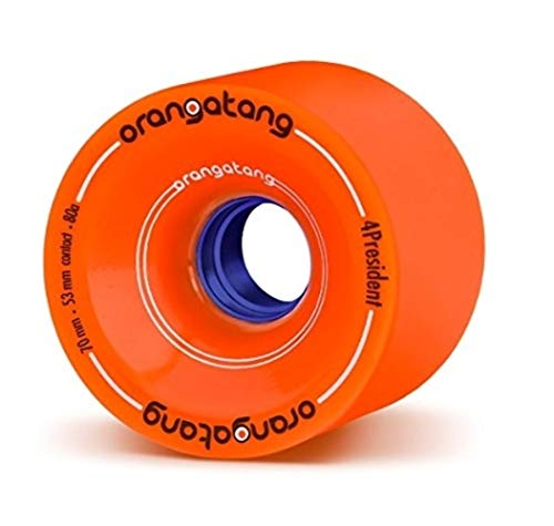 (Orangatang 4 President 70 mm 80a Cruising Longboard Skateboard Wheels w/Loaded Jehu V2 Bearings (Orange, Set of 4))