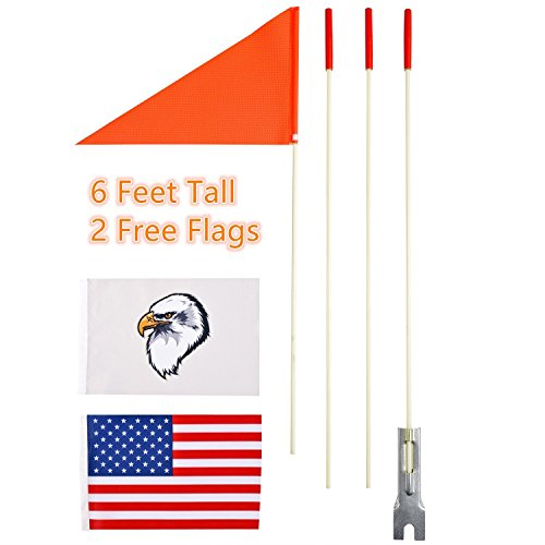 Flag Burley - Uelfbaby Cycling Safety Flag Six Foot Heavy Duty Fiberglass Pole Polyester Full Color Tear-Resistant Waterproof Flag Orange Safty Flag Eagle and American Flag