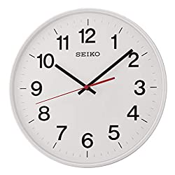 Seiko Quiet Sweep Second Hand Wall Clock - White with Arabic Numerals