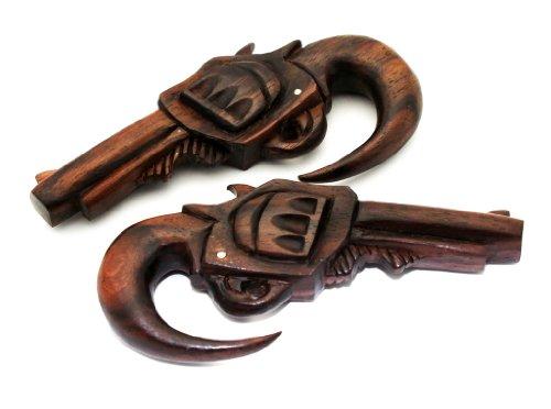 8G 3MM Sono Wood Pistol Gun 9MM Desert Eagle Hanging Tribal Ear Gauge Plug Organic (SOLD AS PAIR)