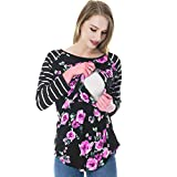 Suma-ma 2 Colors Women Mom Pregnant Striped top-Multi-Functional Breastfeeding Clothes-Long-Sleeved Print Clothes (S-2XL)
