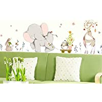 Lively forest Cute Animals Rabbit Elk Happy Baby Elephant Wall Sticker Kids Nursery Baby Room Decor-ej