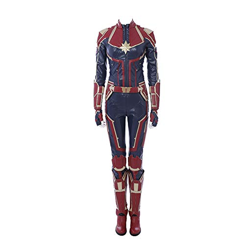 Captain Marvel Carol Danvers Cosplay Costume Leather Full Suit Custom Made Women -