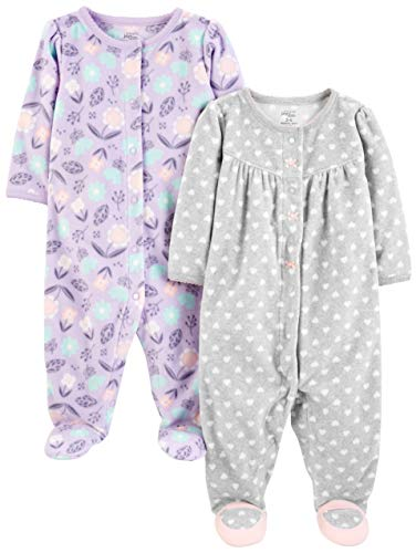 Simple Joys by Carter's Girls' 2-Pack Fleece Footed Sleep and Play, Purple/Flowers/Gray Dot, 3-6 Months