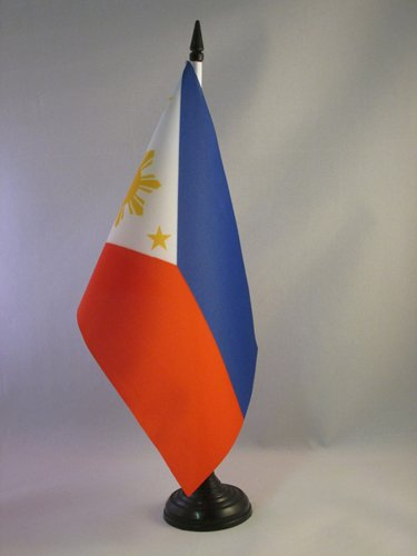 (AZ FLAG Philippines Table Flag 5'' x 8'' - Filipino Desk Flag 21 x 14 cm - Black Plastic Stick and Base)