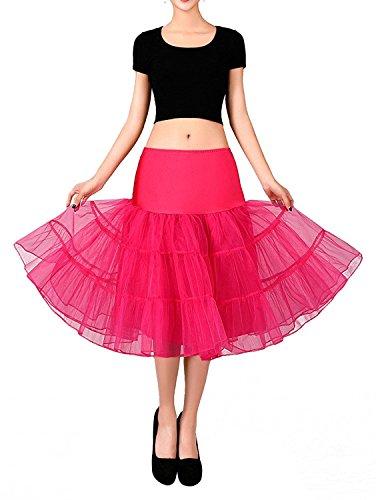 FOLOBE 50s Jupe en jupe Tutu Crinoline Underskirt Ballet d'adulte Ballet Tutu Mini-jupe en dentelle en organza 65cm / 25.6inch Rose Rouge