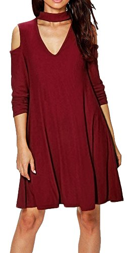 ZESICA-Womens-Cold-Shoulder-Long-Sleeve-Mock-Neck-Choker-Tunic-T-shirt-Dress