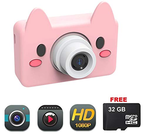 DENT Camera for Kids Toy Camera HD 8MP Video Digital Camera Camcorder for Girls and Boys Includes 32gb microSD Card(Pink Pig)