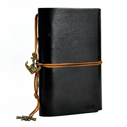 ZLYC Vintage String Mediterranean Style Anchor Loose-leaf Handmade Refillable PU Leather Journal Diary Notepad Notebook Black
