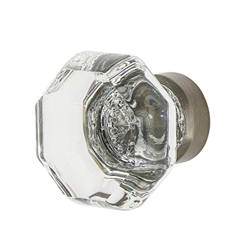 - Nostalgic Warehouse 750038 Satin Nickel Waldorf Crystal Cabinet Knob, 1-3/8