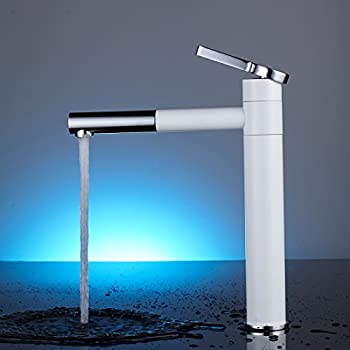 Fapully Modern Bathroom Vessel Sink Faucet Long Curved