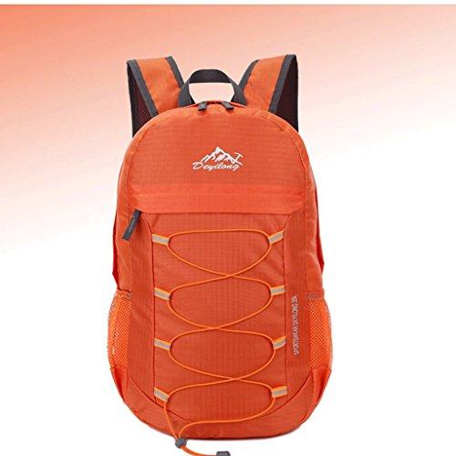 Alas auténtica ultraligero libre del bolso de la piel del hombro portátil plegable bolsa de viaje resistente al agua al aire libre del alpinismo naranja