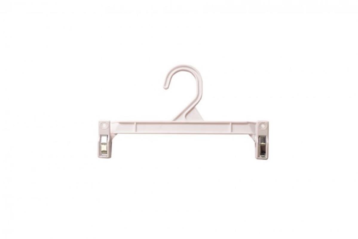 NAHANCO H29W Pinch Clip Plastic Hook Skirt/Slack Hanger, 9 1/2'', White (Pack of 100)