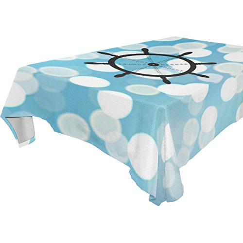 Marine Blue Pool Tablecloth (ZOEO 100% Fabric Polyester Tablecloth,Bling Blue Marine Sea Buoy,Everyday Table Cover For Restaurant,Kitchen,& Picnic,60x90)