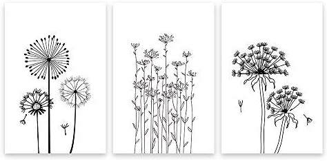 3 Panel Hand Drawing Style Dandelions in Black and White x 3 Panels