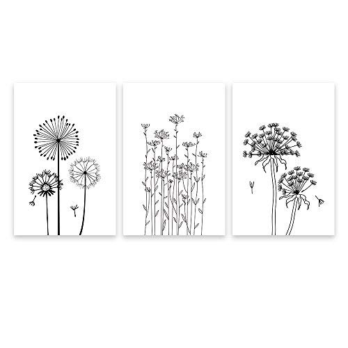 3 Panel Canvas Wall Art - Hand Drawing Style Dandelions in Black and White - Giclee Print Gallery Wrap Modern Home Art Ready to Hang - 16