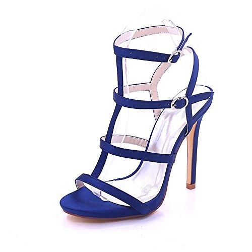 la punta Primavera donna sandali pompa festa raso nozze scuro aperta per Estate Scarpe fibbia di base Stiletto Dark Sera Heel Blue blu ZHZNVX la della rosso argento qt8P5xwtO