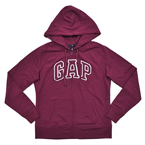 GAP Womens Fleece Arch Logo Full Zip Hoodie (M, Maroon) from GAP