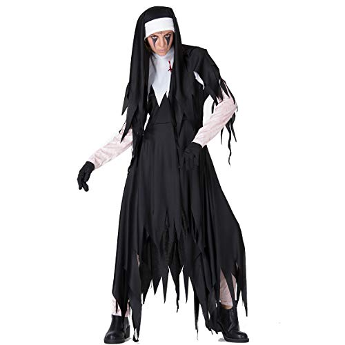 Simmia Halloween Costumes Halloween Horror Nuns Priest Clothing Missionary Costume Irregular Long Skirt Zombie Costumes, 9072, XXL