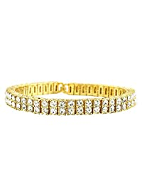 MCSAYS Fashion Hip Hop Double Row Rhinestone CZ Crystal Tennis Chain Men's Bling Bling Bracelet Iced Out