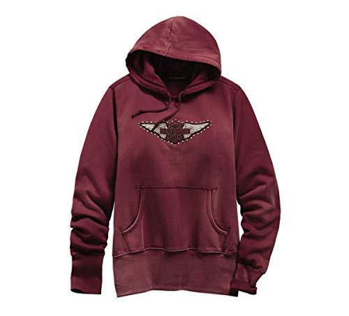 (Harley-Davidson Official Women's Studded Wing Pullover Hoodie, Red (X-Large))
