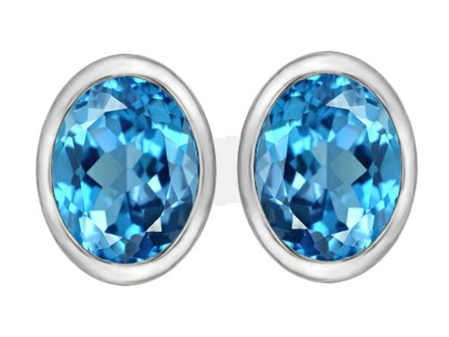 Oval Spinel Earrings - Star K 8x6mm Oval Simulated Blue Topaz Earrings Studs Sterling Silver