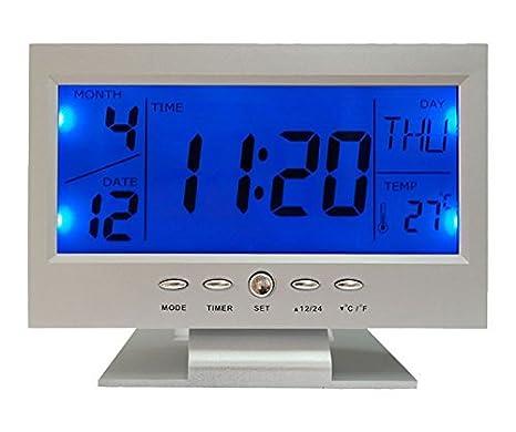 Charmante reloj de mesa con gran pantalla LCD retroiluminada por LED con control de voz, temperatura y huso horario Mondial Mod.
