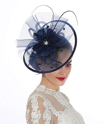 Lucky Leaf Women Girl Fascinators Hair Clip Hairpin Hat Feather Cocktail Wedding Tea Party Hat (8-Navy)