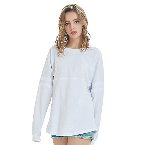 TOPTIE Women's Crewneck Pom Pom Pullover Jersey Youth Long Sleeve Baseball Tops-White-S