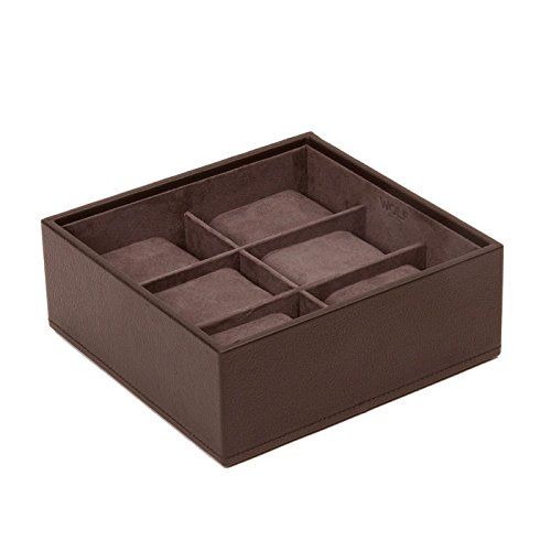 WOLF 309706 Stackable Watch Tray 6 Piece, Brown